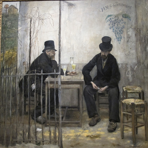 Les buveurs d'absinthe (Les Declasses), by Jean-Francois Raffaeli, oil on canvas, 1881, sold for 2,994,500 to the Fine Arts Museum of San Francisco