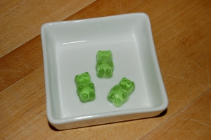 Cute but dangerous little gummi bears made with Lucid absinthe. I'd guess they're somewhere around 10-15% alcohol.
