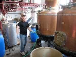 Ted Breaux washing out the Pernod alambic